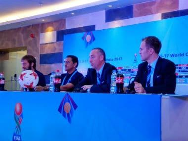 Javier Ceppi, Praful Patel and Jamie Yarza at the press conference in Kolkata. Twitter: @IndianFootball