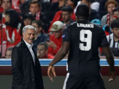 File image of Manchester United manager Jose Mourinho and striker Romelu Lukaku. Reuters