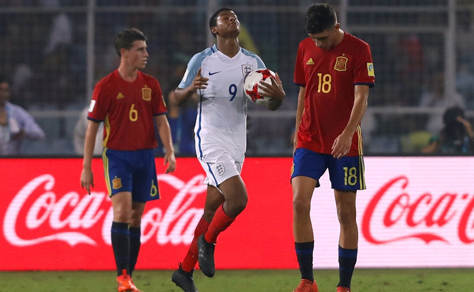 England pulled a goal back before the halftime through Rhian Brewster's eighth goal of the tournament. Reuters