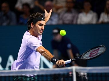 Roger Federer in action during the match against Benoit Paire at the Swiss Indoors. Getty
