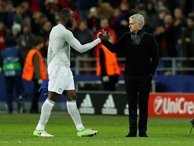 File image of Manchester United manager Jose Mourinho with Romelu Lukaku. Reuters