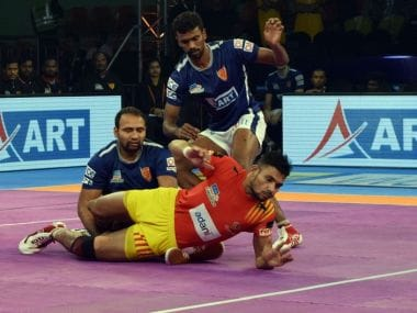 Gujarat Fortunegiants's Sachin in action during Pro Kabaddi League 2017. Twitter @Fortunegiants