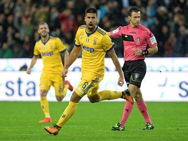 Juventus' Sami Khedira celebrates scoring team's fourth goal. Reuters