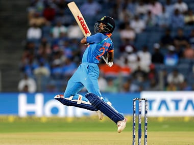 Shikhar Dhawan in action against New Zealand in the 2nd ODI in Pune. AP