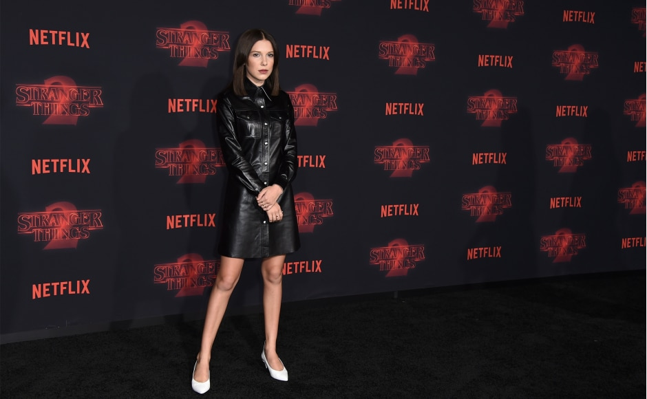 Millie Bobby Brown who plays Eleven on Stranger Things on the red carpet. Image from AP.