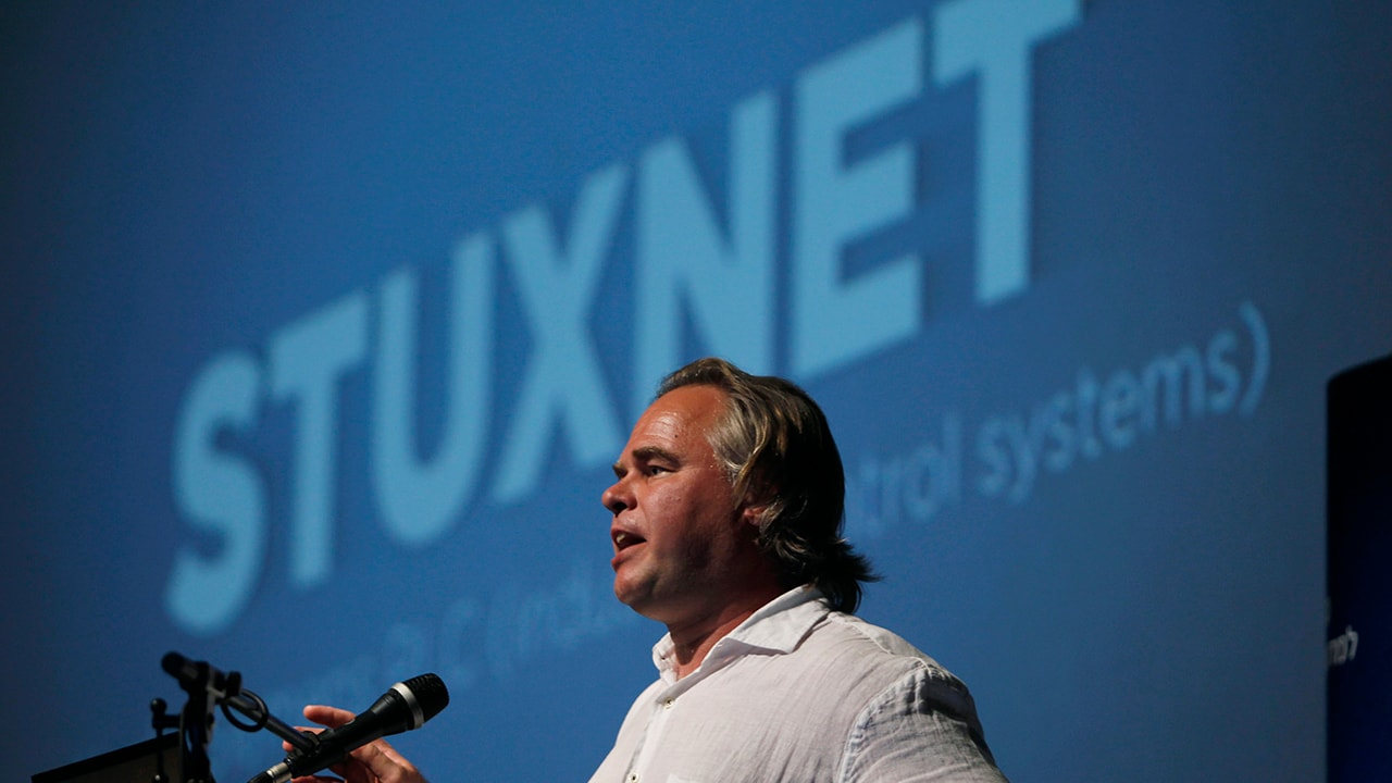 Eugene Kaspersky speaks at a Tel Aviv University cyber security conference. Reuters