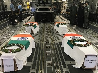 File image of bodies of soldiers' released by the Indian Army. Image courtesy: Twitter@ADGPI