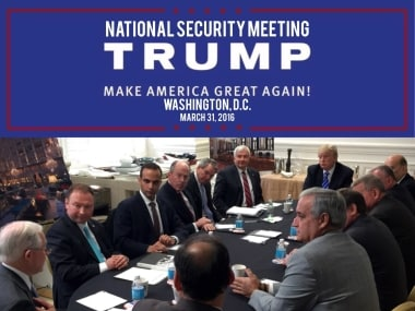 In a photo from President Donald Trump's Twitter account, George Papadopoulos, third from left, sits in what is labelled at a national security meeting in Washington.