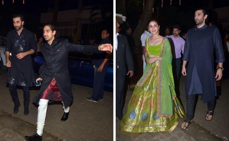Ranbir Kapoor with Ayan Mukherjee; Alia Bhatt with Aditya Roy Kapur at Sonam Kapoor's Diwali bash. Photo: Sachin Gokhale/Firstpost