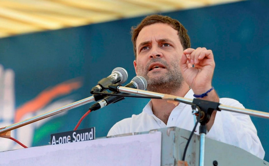 Congress vice-president Rahul Gandhi addresses a public meeting in Gandhinagar, Gujarat on Monday. Gandhi said Gujarat is priceless and can never be bought, a day after Patidar leader Narendra Patel claimed he was offered Rs 1 crore to join BJP. PTI