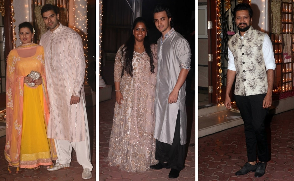 Kratika Sengar with Nikitin Dheer; Arpita Khan with Aayush Sharma; Riteish Deshmukh. Photo: Sachin Gokhale/Firstpost