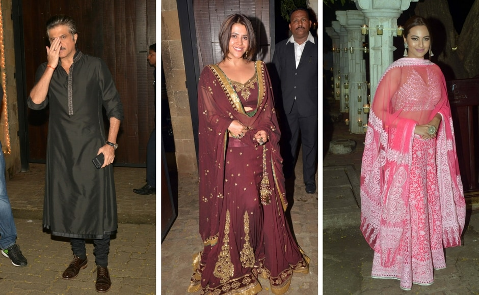 Sonam Kapoor hosted a Diwali bash at her home on Thursday evening. Seen here is father Anil kapoor; Ekta Kapoor and Sonakshi Sinha. Anil had made a qucik pit-stop at Shilpa Shetty's Diwali party as well. Photo: Sachin Gokhale/Firstpost