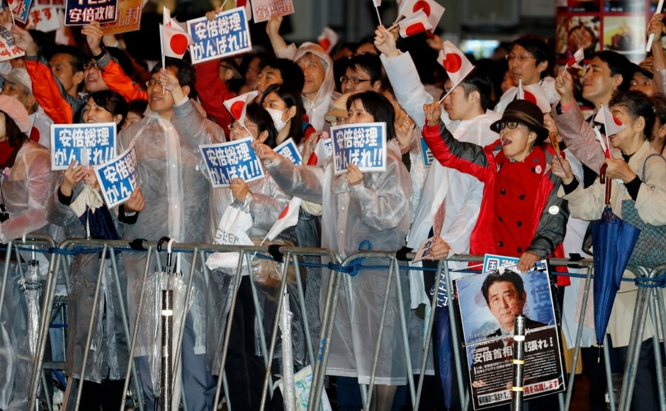 Millions of Japanese braved typhoon condition on Sunday for a snap selection likely to hand Prime Minister Shinzo Abe a fresh mandate to revive the World's third-largest economy. AP