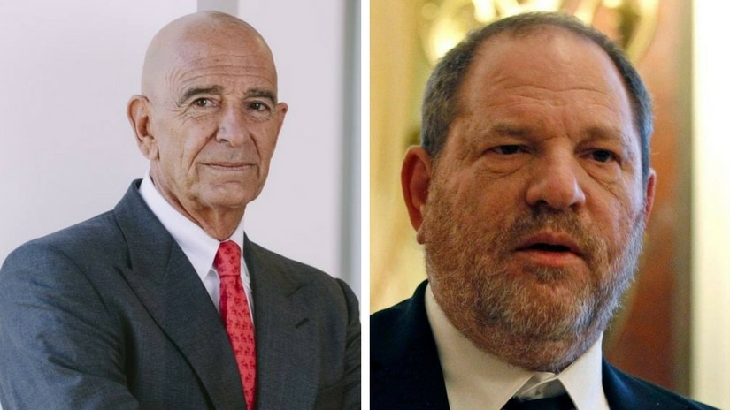 Colony Capital founder Thomas Barrack (left); disgraced film mogul Harvey Weinstein (right). Images via Facebook