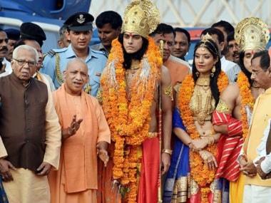 Yogi Adityanath celebrated Diwali in Ayodhya a day ahead of Diwali. PTI