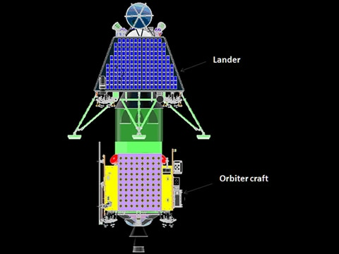 The lander and orbiter will be stacked in the launch vehicle for the Chandrayaan-2 mission. Image: ISRO.