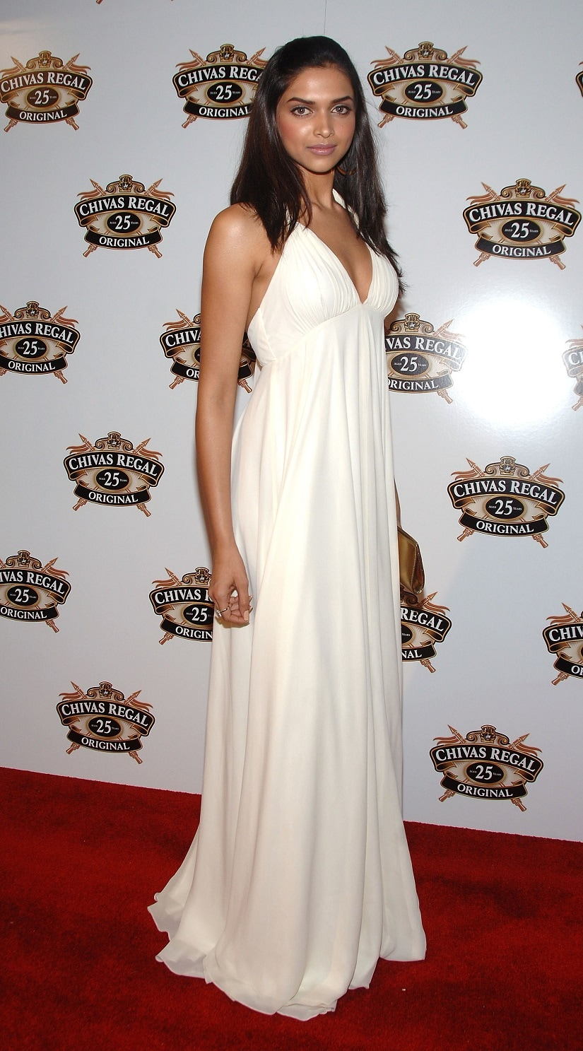 Deepika Padukone at an event marking Chivas Regal 25 Year Old's return to New York City. Image from Getty Images.