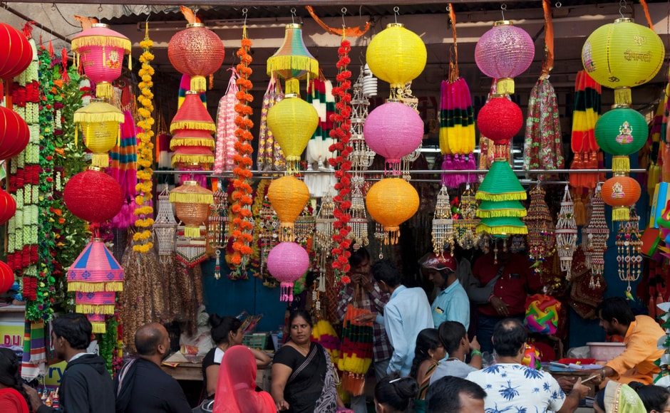 Lanterns and lamps hang at a roadside stalls ahead of Diwali in Hyderabad. Diwali, the Hindu festival of lights, will be celebrated on 19 October.