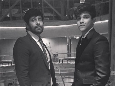 Vikram with his son Dhruv. Image from Instagram/Dhruv Vikram.