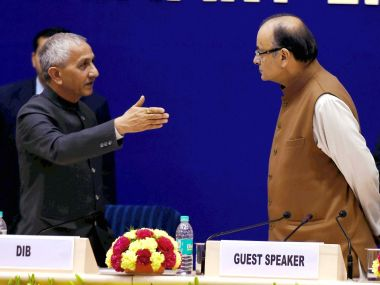 A file photo of former IB chief Dineshwar Sharma with Union minister Arun Jaitley. PTI