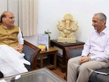 Dineshwar Sharma with Finance Minister Arun Jaitley. PTI