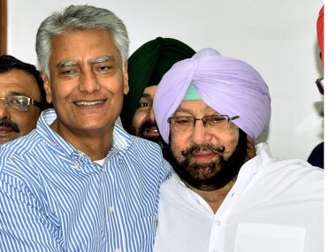 Punjab Chief Minister Captain Amarinder Singh with candidate Sunil Jakhar on his splendid victory in the Gurdaspur bye-election in Chandigarh on Sunday.PTI