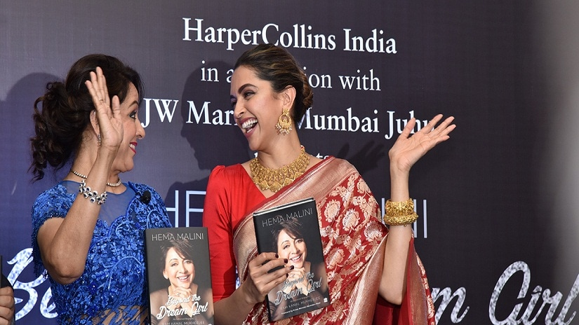 Hema Malini and Deepika Padukone at the book launch of the former's biography Beyond The Dream Girl