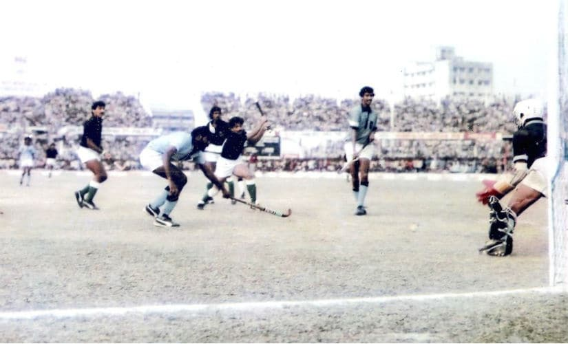 India defend in the final of the 1985 Hockey Asia Cup in Dhaka. In the picture are Pargat Singh, MM Somaya and Indian goalkeeper Romeo James. Firstpost/ Sundeep Misra