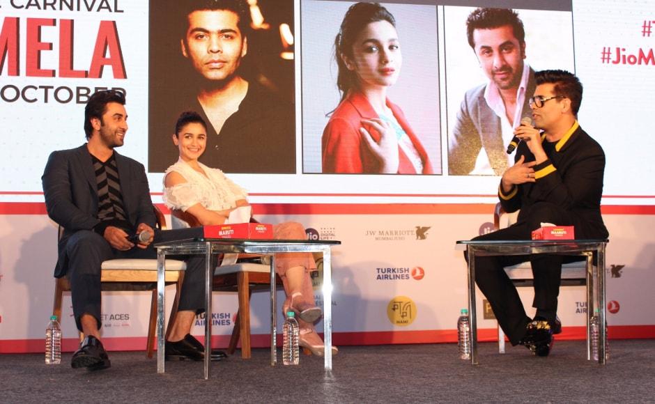 Ranbir Kapoor, Alia Bhatt and Karan Johar at the Jio MAMI Movie Mela. The mela was held in Mumbai on 7 October.