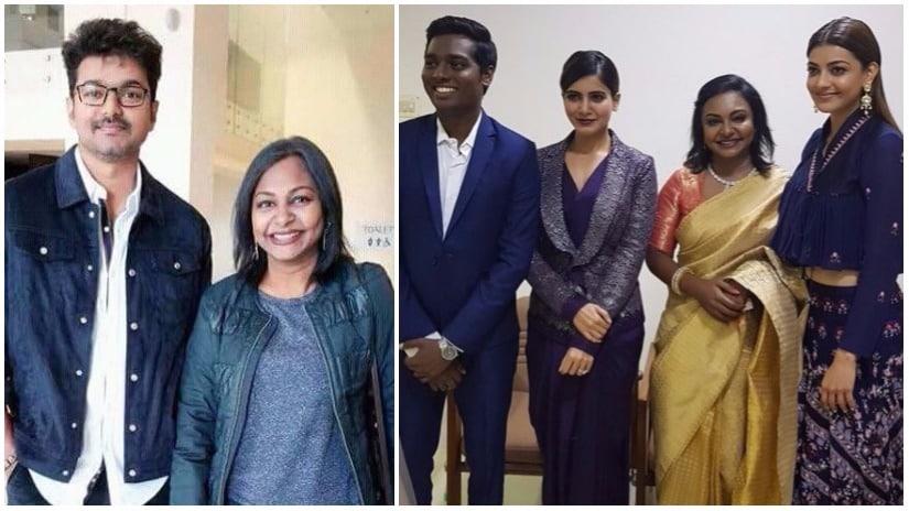 Mersal producer Hema Rukmani (L) with Vijay; (R) with director Atlee, Samantha Ruth Prabhu and Kajal Aggarwal