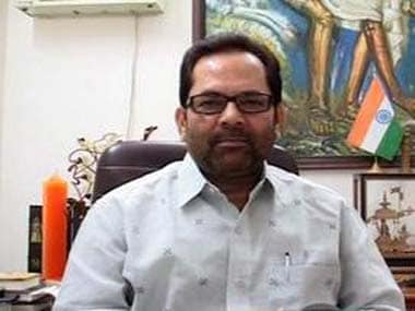 File image of Union minister Mukhtar Abbas Naqvi. News18