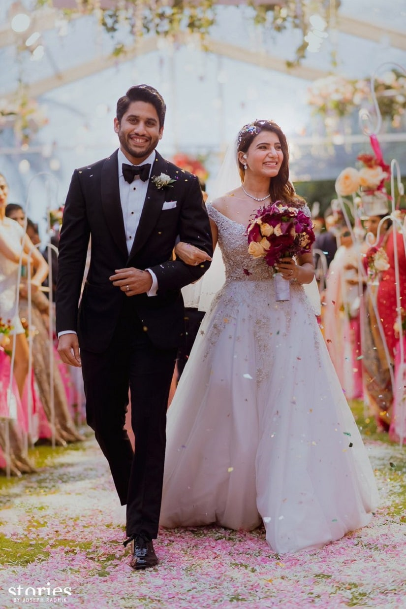 Naga Chaitanya and Samantha Ruth Prabhu during their Christian wedding. Image from Twitter/@iamnagarjuna.