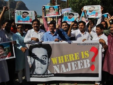 File photo of a protest seeking action to trace Najeeb. Getty Images.