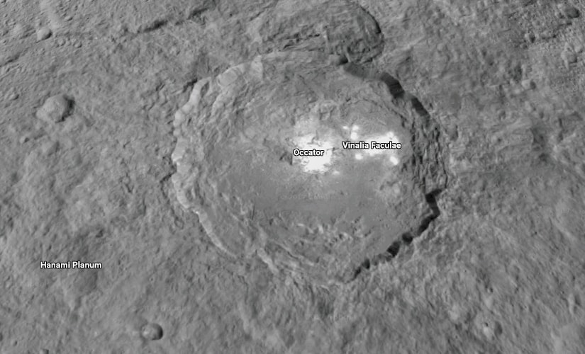 The Occator crater on Ceres. Image: NASA.