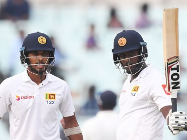 Sri Lanka's Angelo Mathews celebrates his half-century against India during the third day of the first Test. AFP
