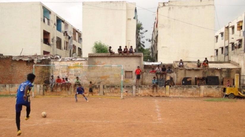 Players and spectators at Pallakumanagar. All photos courtesy Raveena Joseph