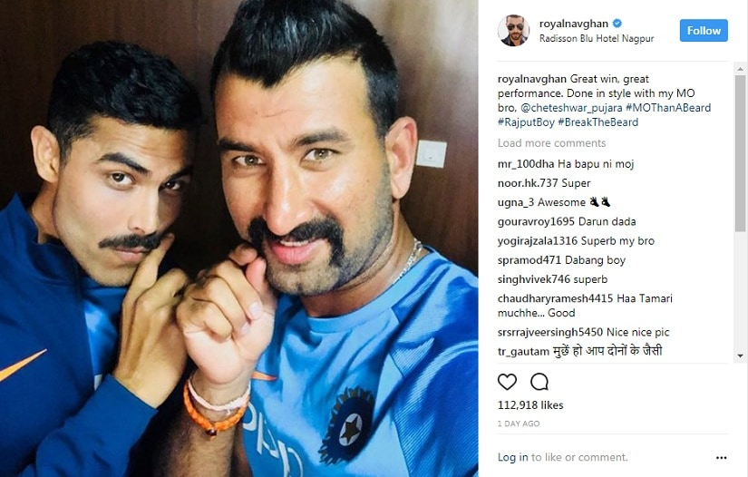 On and off the field, Indian cricketers celebrate their Nagpur victory with #MoThanABeard