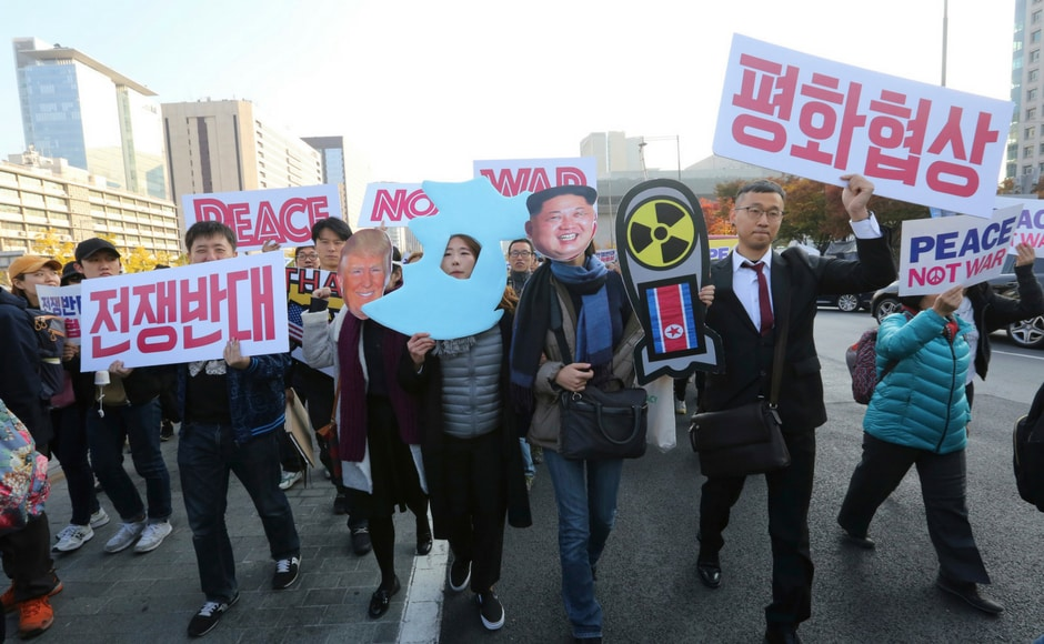 The protesters fear that if Trump continues with his fierce stance against North Korea during the visit, it could aggravate the conflict between Pyongyang and Seoul. AP