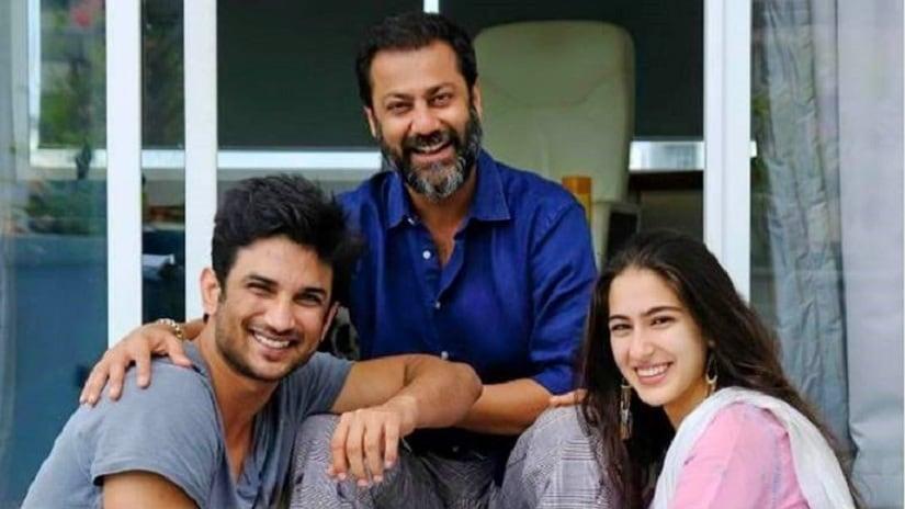 Sushant Singh Rajput, Abhishek Kapoor and Sara Ali Khan. Image via Facebook
