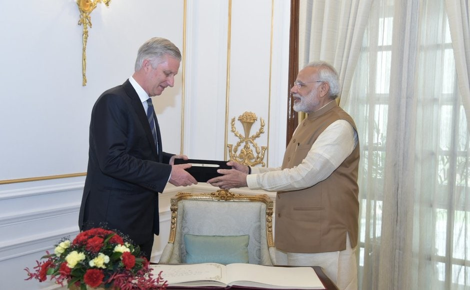 Narendra Modi and King Philippe on Tuesday held talks to strengthen bilateral ties between the two countries. The royal couple was accompanied by six ministers and a high powered business delegation comprising CEOs of 86 Belgian companies. Twitter@narendramodi