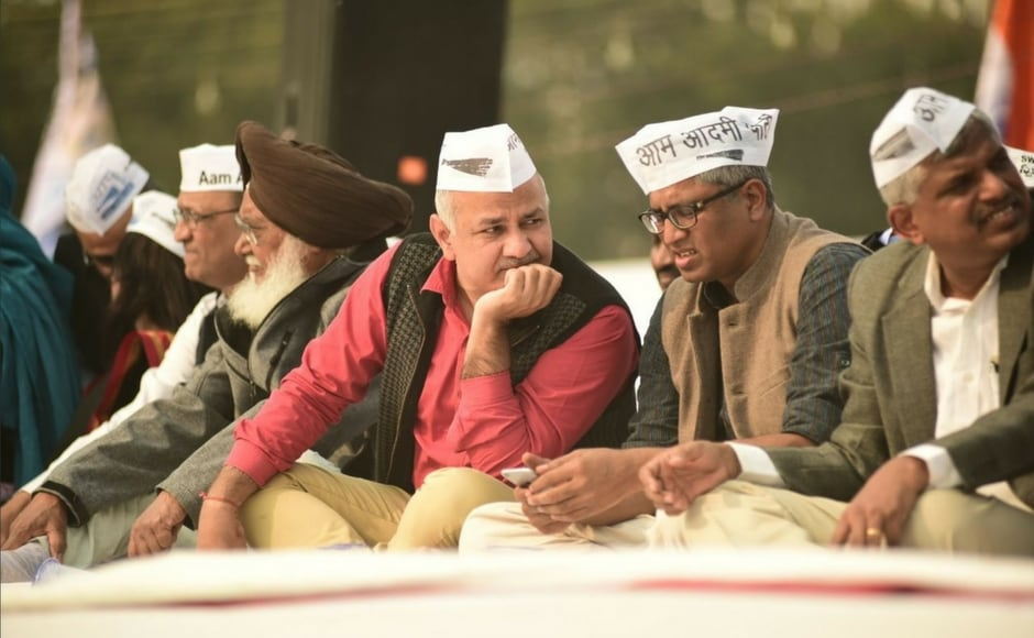 The primary players of the party including Deputy Chief Minister Manish Sisodia and senior party leaders Ashutosh, Kumar Vishwas, Gopal Rai were part of the founding day celebrations at Ramlila Maidan, New Delhi. Image Courtesy: Twitter @AamAadmiParty