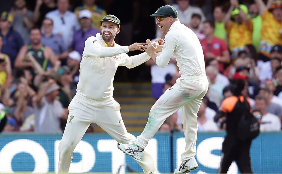 Nathan Lyon's acrobatic piece of fielding led to James Vince's run out as Australia dismissed Vince and Stoneman within a span of five overs. AP