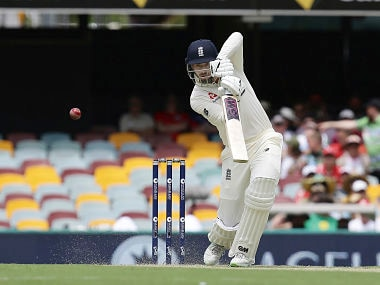 England's James Vince plays a shot during the Ashes cricket test between England and Australia in Brisbane, Australia Thursday, Nov. 23, 2017. (AP Photo/Tertius Pickard)