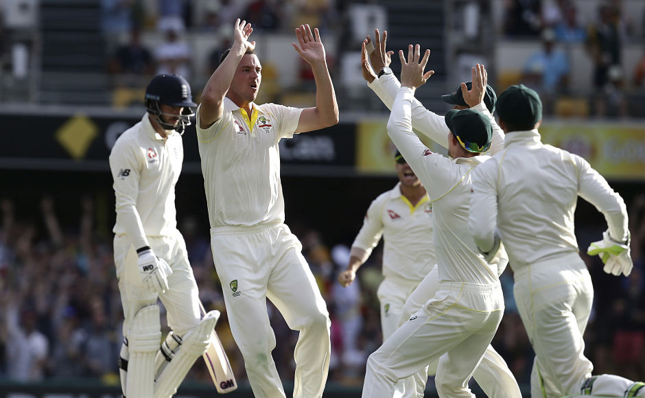 Australia's Josh Hazlewood added the scalp of first innings hero James Vince in his very next over to leave England tottering at 17-2 in the sixth over of the Brisbane Test. AP