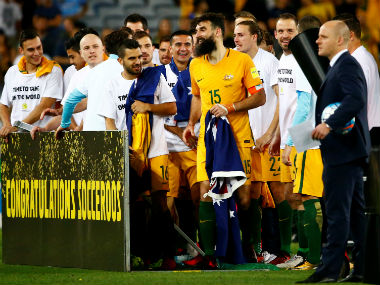 Australia's Mile Jedinak, Tim Cahill and team mates celebrate qualifying for the 2018 World Cup. Reuters