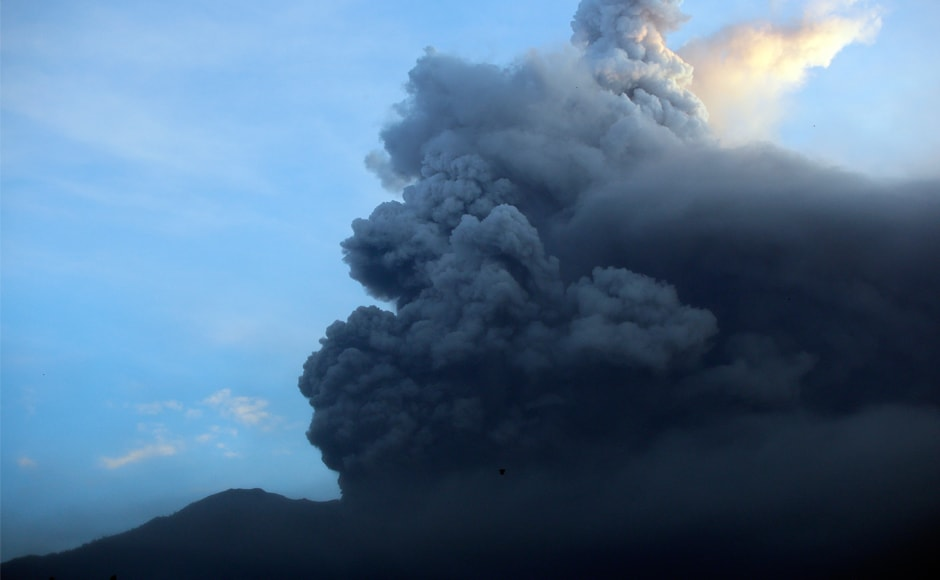 Huge plumes of smoke have been pouring out of the volcano since Tuesday. Senior state volcanologist Gede Suantika said it was belching thick grey smoke as high as 3,400 metres early on Monday. AP