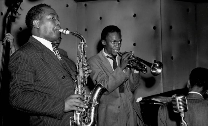 Charlie Parker (R) and Miles Davis at the Three Deuces, New York, circa 1945. YouTube