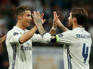File image of Real Madrid's Cristiano Ronaldo with Sergio Ramos. Reuters