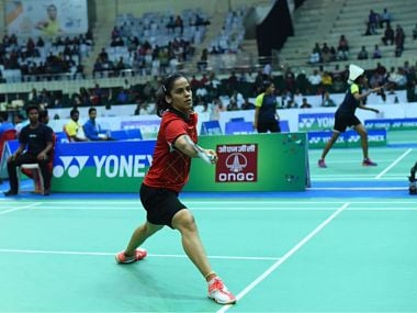Saina Nehwal beat PV Sindhu in straight games to clinch the women's singles title. Image courtesy: Twitter @SNBCIndia2017