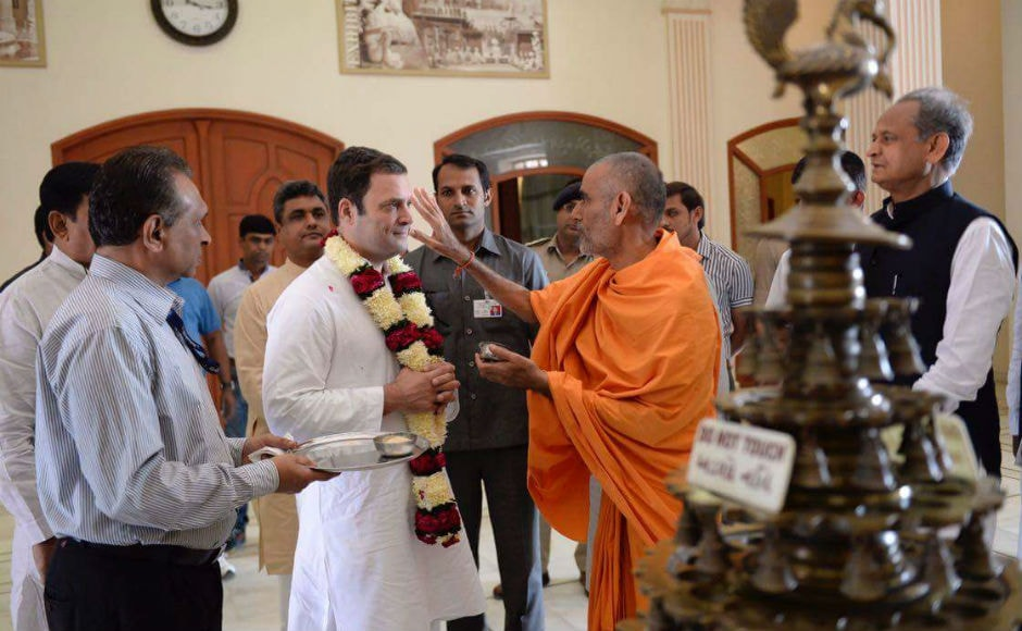 The Congress vice-president also visited Akshardham Temple in Gandhinagar on Saturday before starting his Navsarjan Yatra in north Gujarat. Image sourced by Darshan Desai